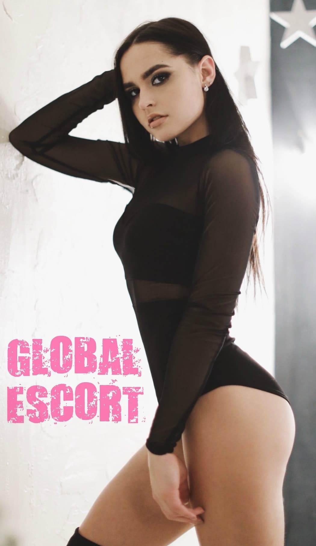 sexy brunette escort in black lingerie in the room